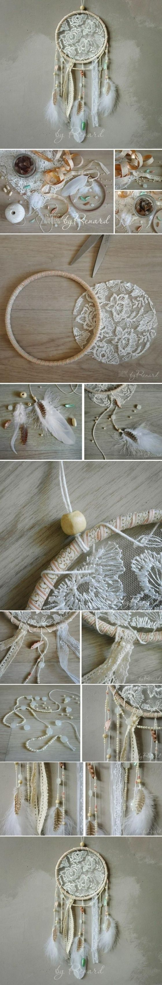 DREAM CATCHER - FABRIC This dream catcher uses fabric rather than tying rope designs through the center.  {DIY~Elegant Dreamcatcher}