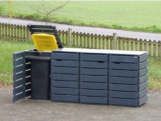4er Mülltonnenbox Holz 240 Liter