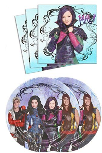 Disney Descendants Birthday Party Pack (Plates & Napkins) 16 Guests by Party Supplies