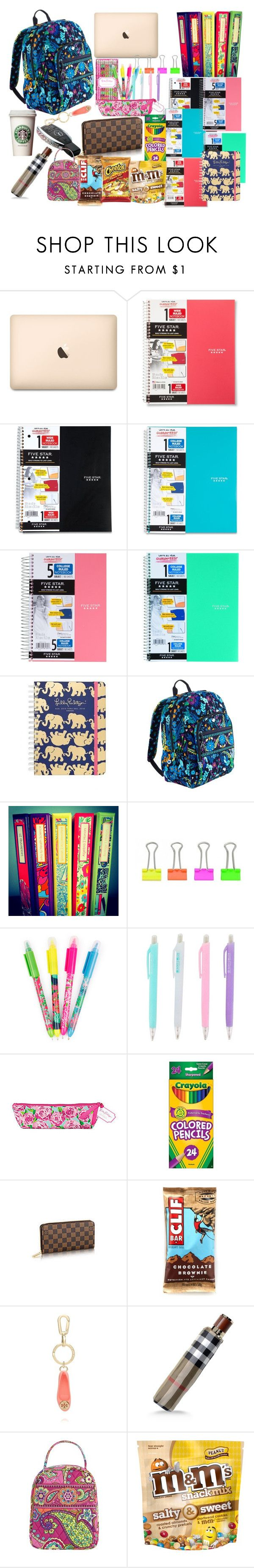 """""""What's in My Backpack"""" by preppy-pearlgirl ❤ liked on Polyvore featuring ACCO, Vera Bradley, Lilly Pulitzer, Tory Burch and Burberry"""