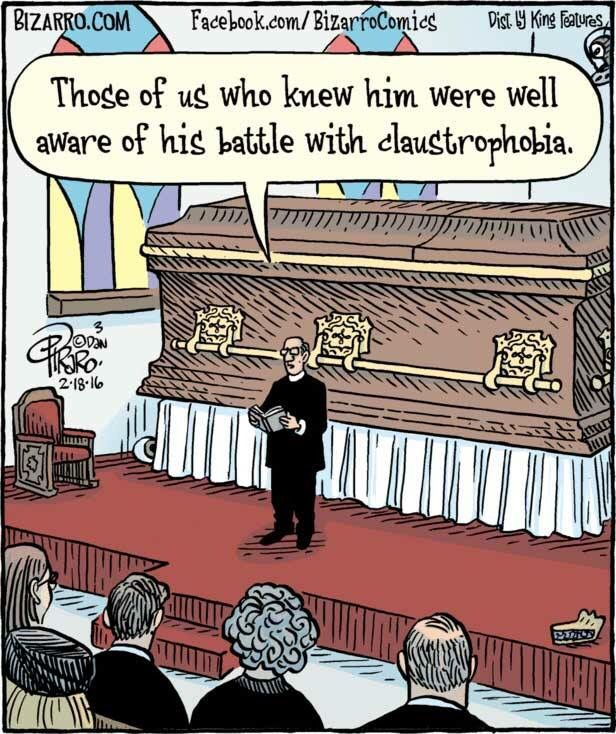 Funerals and death humor. Bizarro comics
