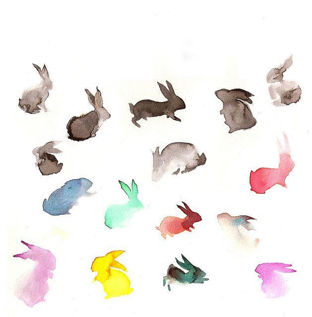 watercolor rabbits  :-)  ~ artist creyonbonito   . . . .   ღTrish W ~ http://www.pinterest.com/trishw/  . . . .  #art #journal