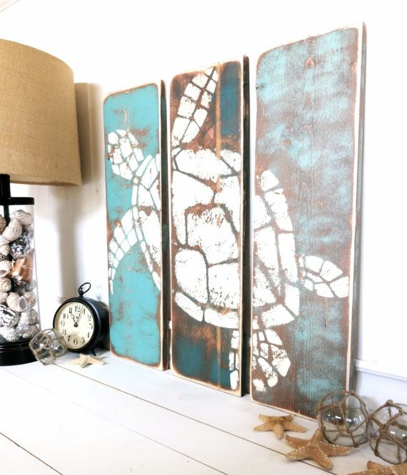 Meet Me Bye The Sea Vintage Honu Summer Teal Cottage Catalina Beach Hut Beige And Wood Stain Washed By Plank