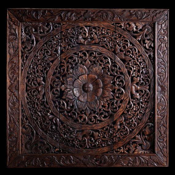 Hand Carved Wall Panel Made From Teak Wood Hanging Wall Art Home Decor