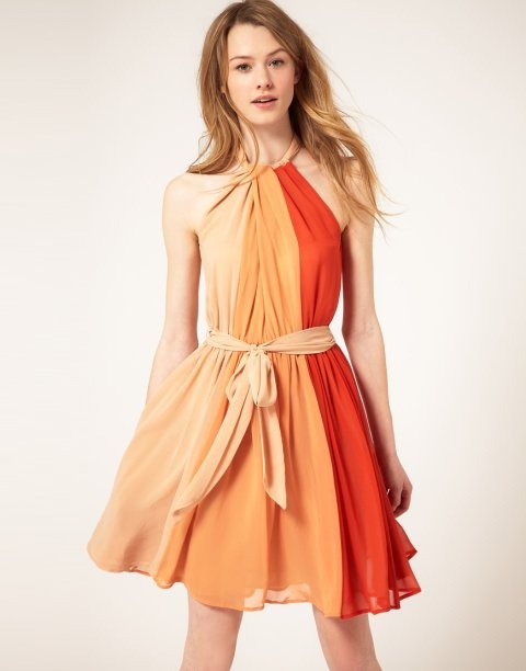 Sukienki na wesele, French Connection, ok. 500złFrench Connection, Orange, Fashion Dresses, Summer Style, Strapless Dress, Colors, Dresses Casual, Chiffon Dresses, Halter Dresses