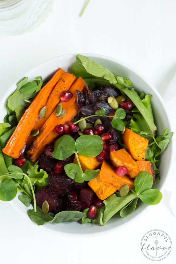 Roasted Winter Vegetable Salad with Maple Balsamic Dressing ...