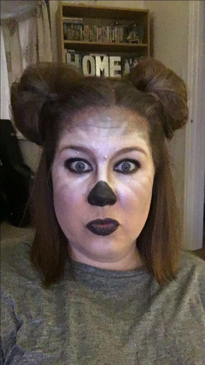 Koala makeup for Australian theme ears made from hair