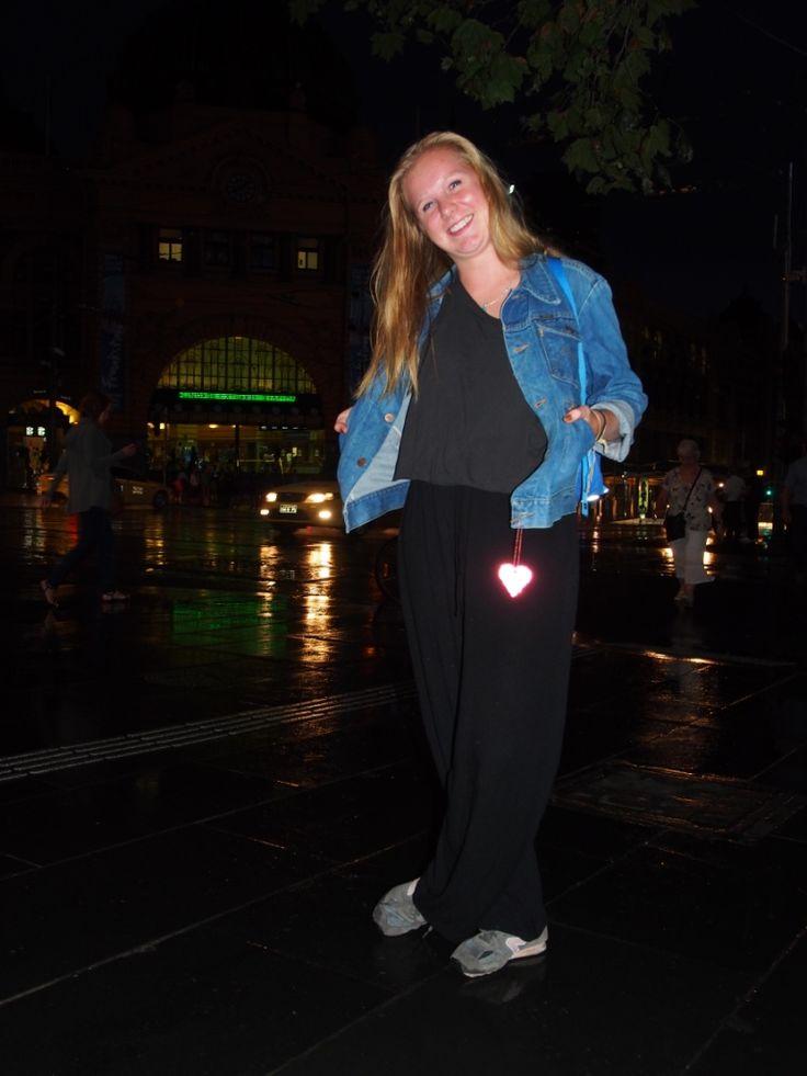Marvelous Mikaela in Melbourne, safe on her way to Flinders street station