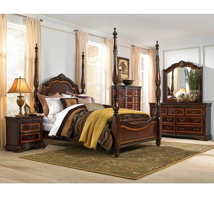 dimora bedroom set%0A Luxuriate in the lavishness of our Estate Bedroom Collection  Deep cherry  wood finish and ornate Primavera accents give these pieces an opulent and  polished