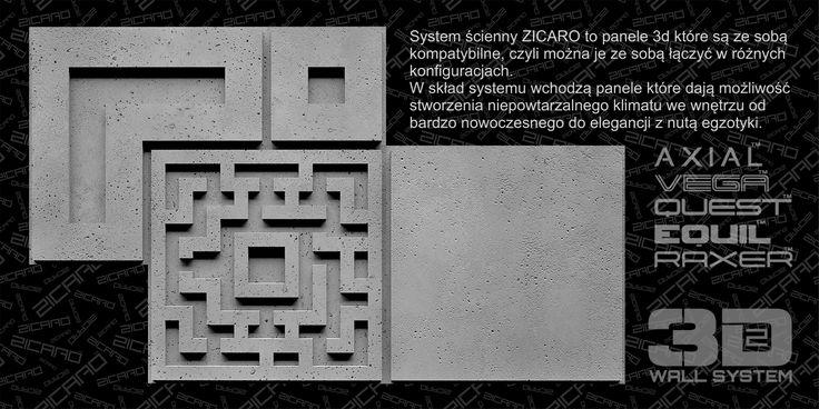 Nowe polskie panele ścienne 3D! Zicaro wykonane są  z kompozytu gipsowo-polimerowego Crystal-X, na bazie  naturalnego gipsu ceramicznego.        Swoją strukturą przypominają beton architektoniczny,  a w rzeczywistości są dużo od niego lżejsze. Co ważne - nie wymagają impregnacji oraz  malowania.
