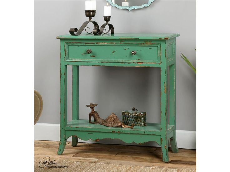Uttermost Living Room Celso Sea Green Accent Table