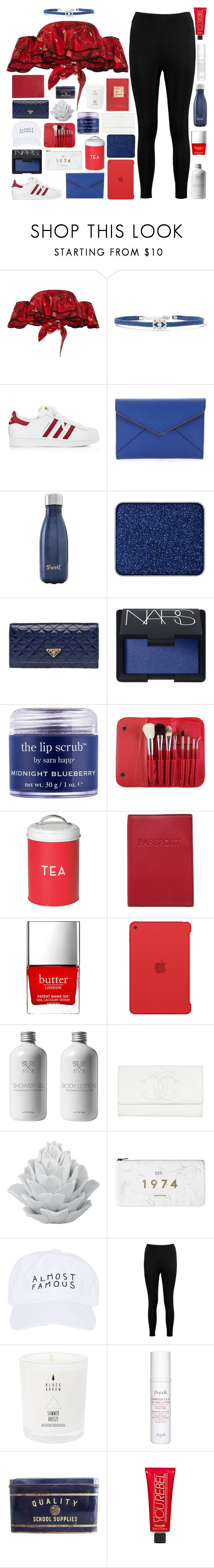 """""""You Light Me Up Inside Like The Fourth Of July"""" by just-a-reject-x ❤ liked on Polyvore featuring Johanna Ortiz, Noir Jewelry, adidas, Rebecca Minkoff, S'well, shu uemura, Prada, NARS Cosmetics, Sara Happ and Morphe"""