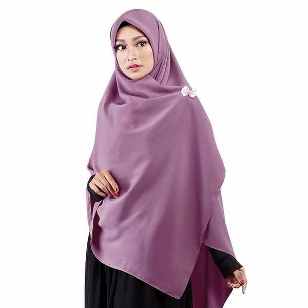 Jilbab Segiempat Premium Dusty Ungu Tua