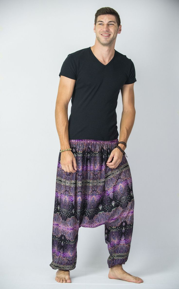 Amazingly soft Paisley Low Cut Men's Harem Pants in Purple.Cotton/Rayon Blend. Free International Shipping on Orders over $60 at HaremPants.com Sizing: One size fits most. Approx. Measurements: - Wais