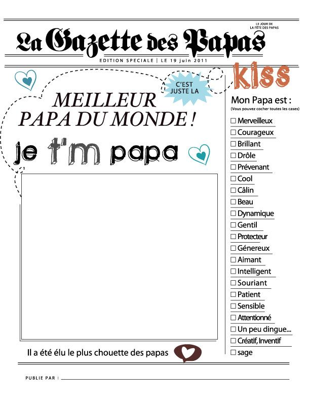 Creating a newspaper headline for father's day - le meilleur papa du monde (image only)