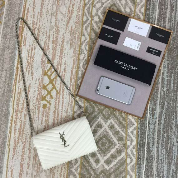 CLASSIC SAINT LAURENT FLAP FRONT WALLET WITH REMOVABLE METAL CHAIN Whatsapp:+8615817091613 for more pics and other payment options.