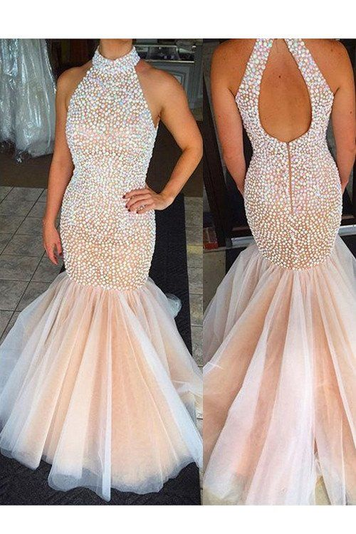2017 Tulle Mermaid Evening Prom Dress, Long Cheap Evening Prom Dress, – SposaDesses