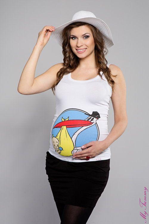 Koszulka ciążowa na ramiączka Bocian biały