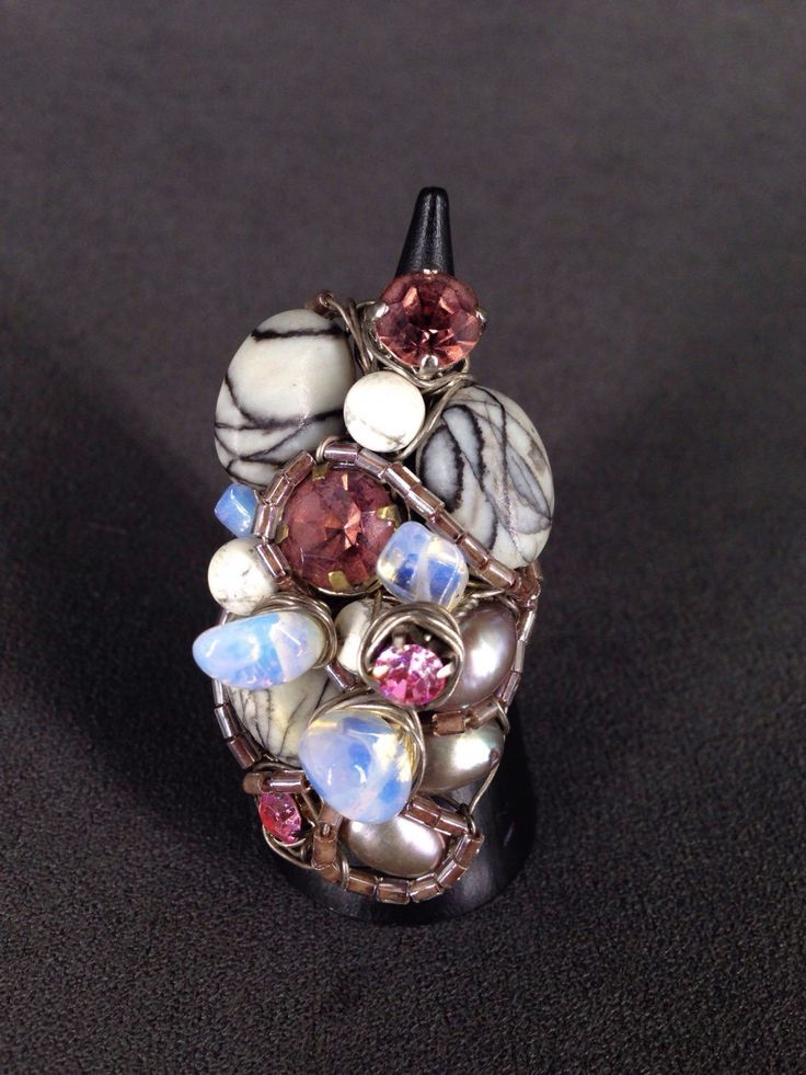 Pearl, white howlite and pink rhinestone sterling silver ring by TrinesTreasures on Etsy