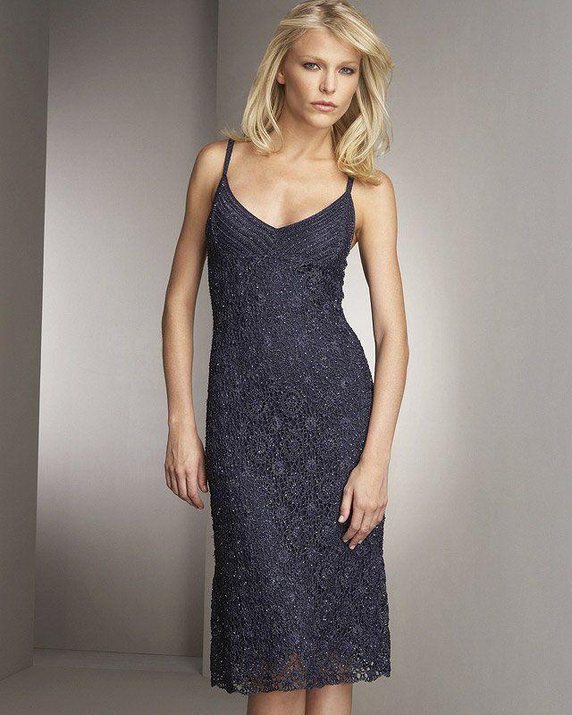 Вечернее вязаное крючком платье