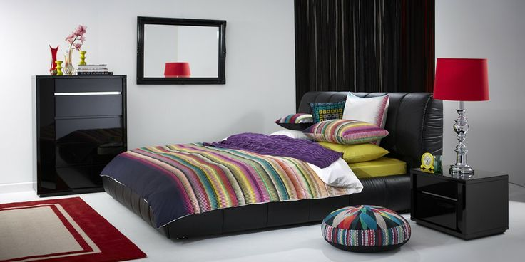 Santana Bedroom Furniture - A beautifully upholstered bed with striking features, the Santana is a stylish centrepiece for any bedroom.  Linen: Indio Multi by KAS Accessories courtesy of: Mayfield Lamps, Warranbrooke & Colorscope Rugs