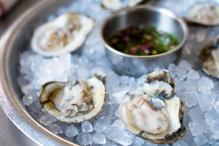 Oysters on a Platter with mignonette sauce