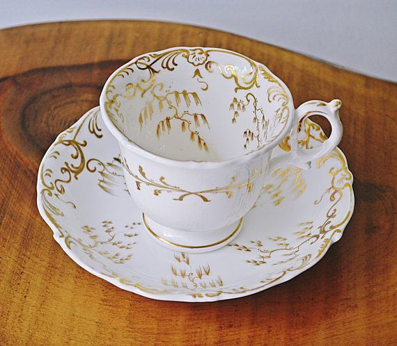 Antique Cup And Saucer White And Gold China Elegant Teacup