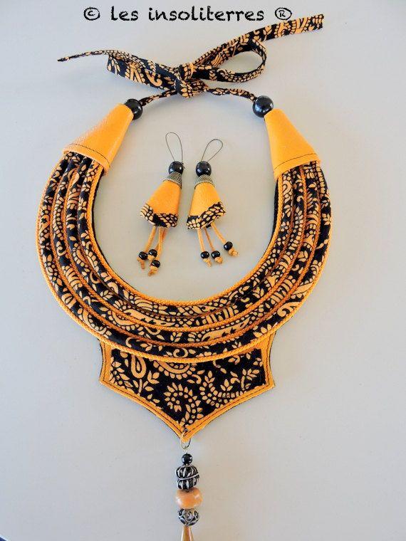 www.cewax.fr aime la boutique des Insoliterres sur Etsy / collier ethnique nomade bohème chic en tissu indien et cuir jaune safran moutarde curry et noir