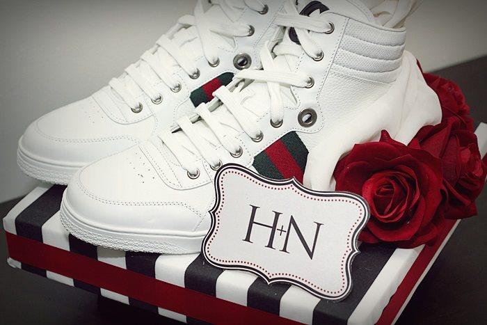 Black & White Stripes w/ Red gift tray III