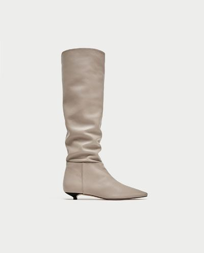 FLAT LEATHER BOOTS DETAILS  99.95 EUR  COLOR: Ice  5002/201 Zara