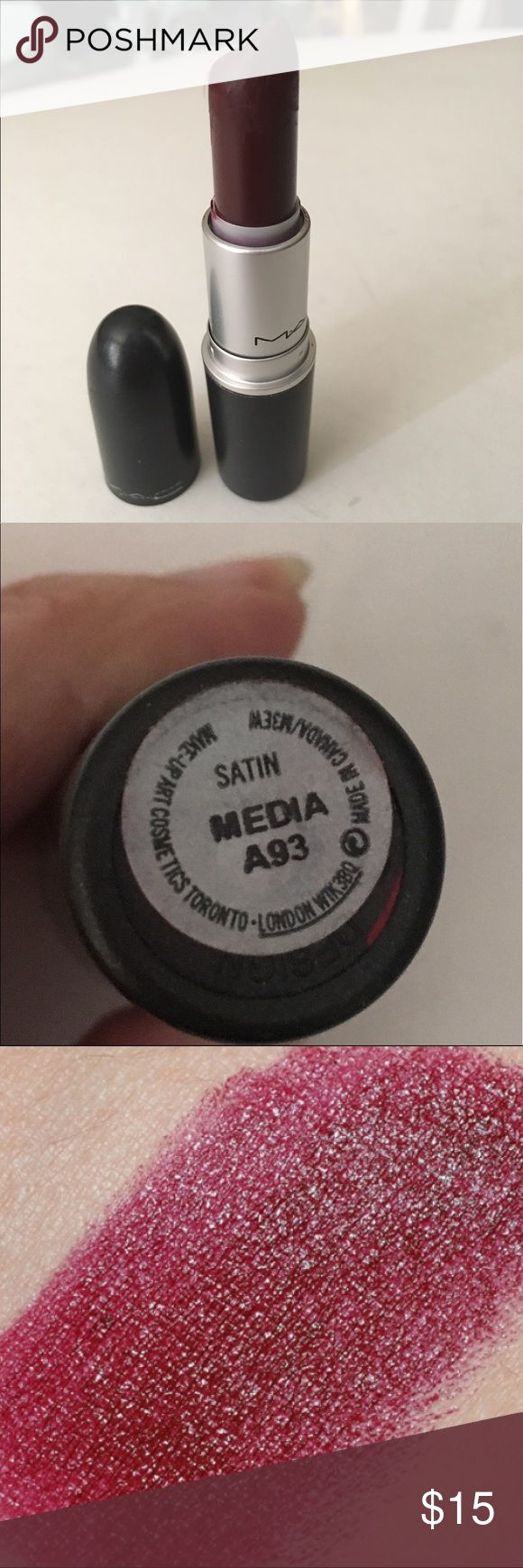 MAC Media Lipstick - Satin finish MAC Media Lipstick - Satin finish - Almost full amount remains - sterilized - (* I can't be responsible if Lipsticks melt if left in mailbox*) - sterilized - Fast Shipping Makeup Lipstick