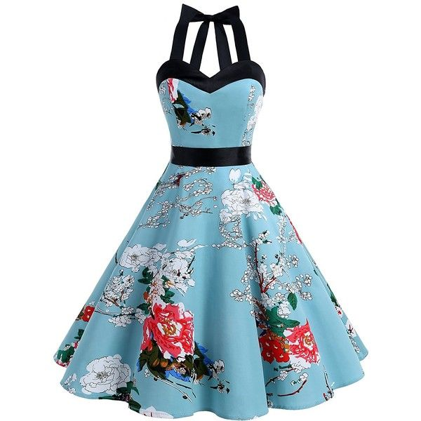 Dresstells Halter 50s Rockabilly Polka Dots Audrey Dress Retro... ($23) ❤ liked on Polyvore featuring dresses, retro cocktail dresses, rockabilly dresses, polka dot dress, halter tops and retro dresses
