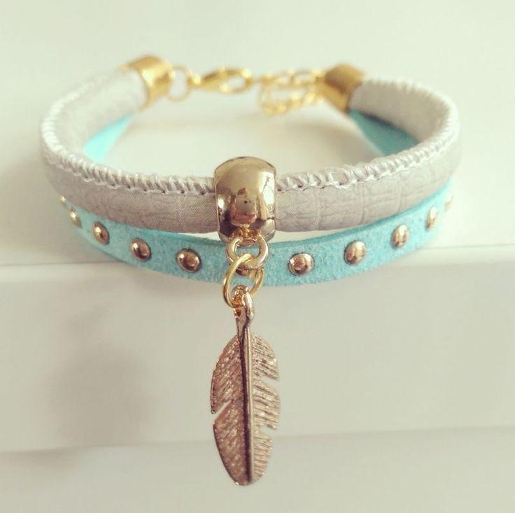 "Ibiza Bracelet ""Mint & Ivory Feather"""