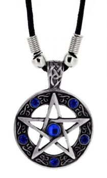 Blue Stones Pentagram Pendant - Necklace