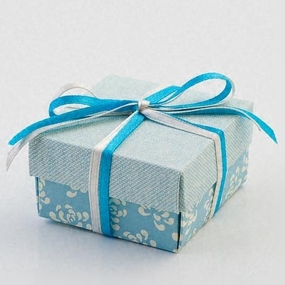 Vintage Blue Flat Square Favour Box by Italian Options £0.59 - The Wedding Gift Company