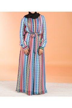 Pink azteck chiffon maxi dress