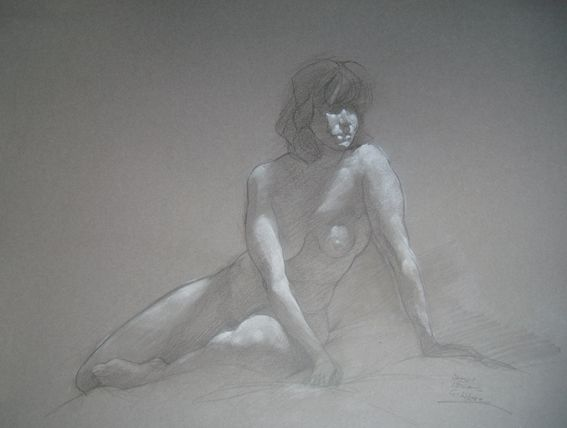 Sitting nude, by Cyprian Libera, graphite / chalk on toned paper