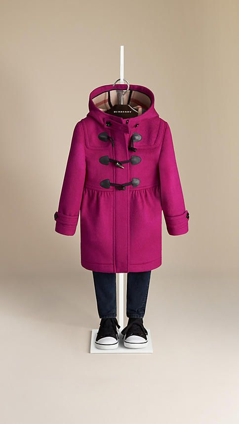 Burberry Fritillary Pink Skirted Wool Duffle Coat - Warm wool duffle coat with a feminine gathered skirt.  Concealed zip and toggle closure.  Protective throat latch, button-tab cuffs and check-lined hood.  Discover the childrenswear collection at Burberry.com