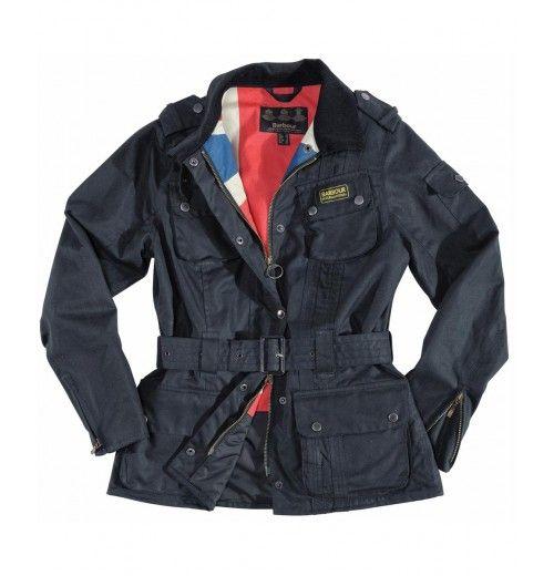 Barbour International Fleece Polarquilt Jacket Womens Blue Navy