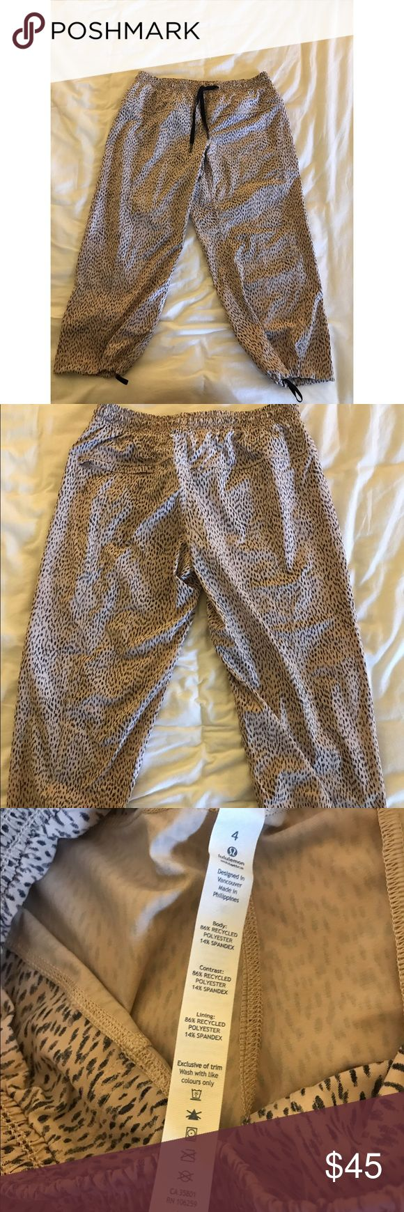 NEW Lululemon Leopard Athletic Capri Shorts/Pants • NEW WITHOUT TAGS. • size is 4. • Beautiful cream pinky hue. • Waist is 14' laying flat. Rise is 8.5'. Inseam is 17'. • Ships out same or next day. lululemon athletica Pants Capris