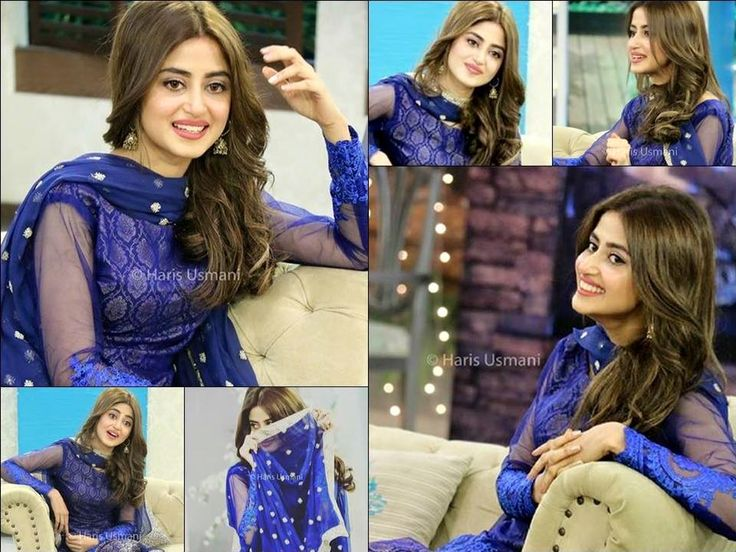 Beautiful Sajal Ali in a blue dress.