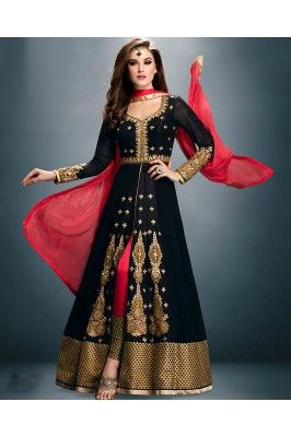 Be the ethnic beauty wearing this latest designer black long sleeved  front slit Anarkali Suit Set #womensfashion #womenssuits #onlineanarkalisuits #anarkalisuitset #frontslitanarkali #designeranarkali