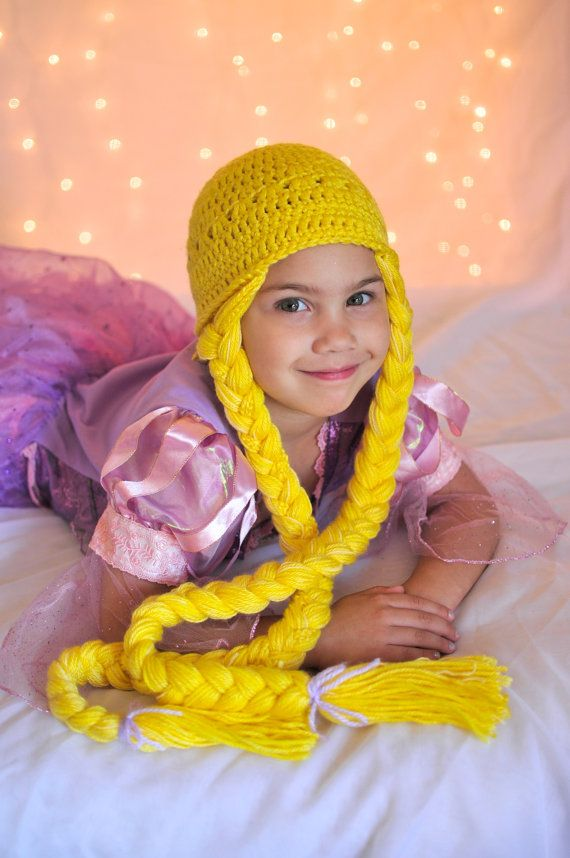 **Please include head size when ordering. :)    This Disney Princess Rapunzel inspired crochet beanie hat wig will make any little girl feel like