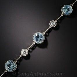 Vintage Aquamarine Platinum and Diamond Bracelet