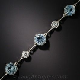 Vintage Aquamarine Platinum and Diamond Bracelet