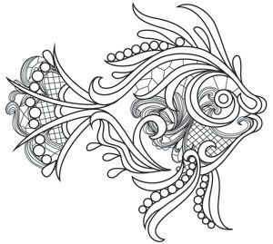 Intricate lines and lacy detailing come together in this stunning fish design pattern. Downloads as a PDF. Use pattern transfer paper to trace design for hand-stitching.