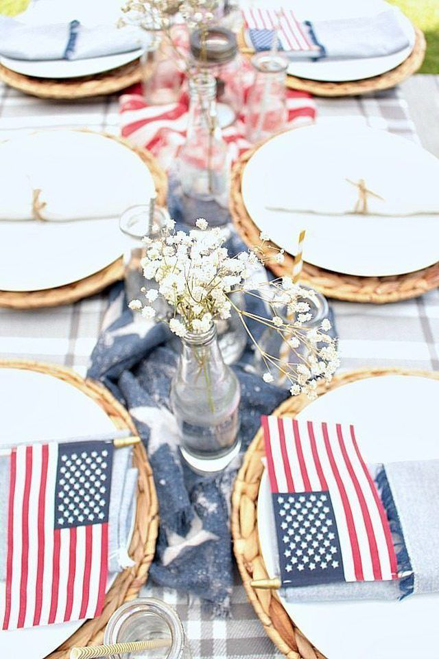 These Modern 4th Of July Party Ideas Will Blow Your Mind Hunker Patriotic Table Decorations 4th Of July Decorations Fourth Of July