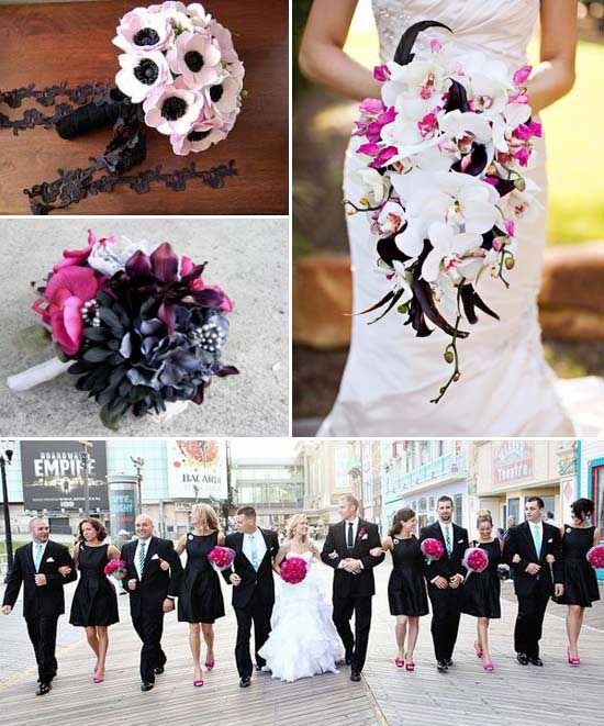 Schwarz Und Pink Hochzeitsthema Idee Hochzeit Wedding Colors