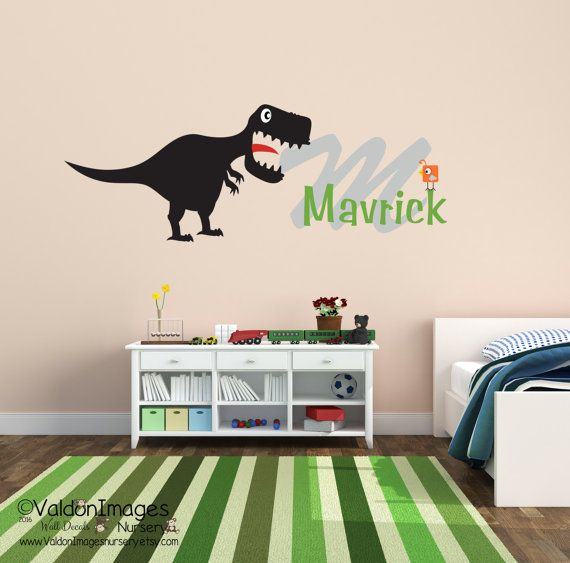 Beautiful Dinosaur name wall decal by ValdonImagesNursery nurserydecor Dinosaurs dinos boysroomdecor babyshowergifts