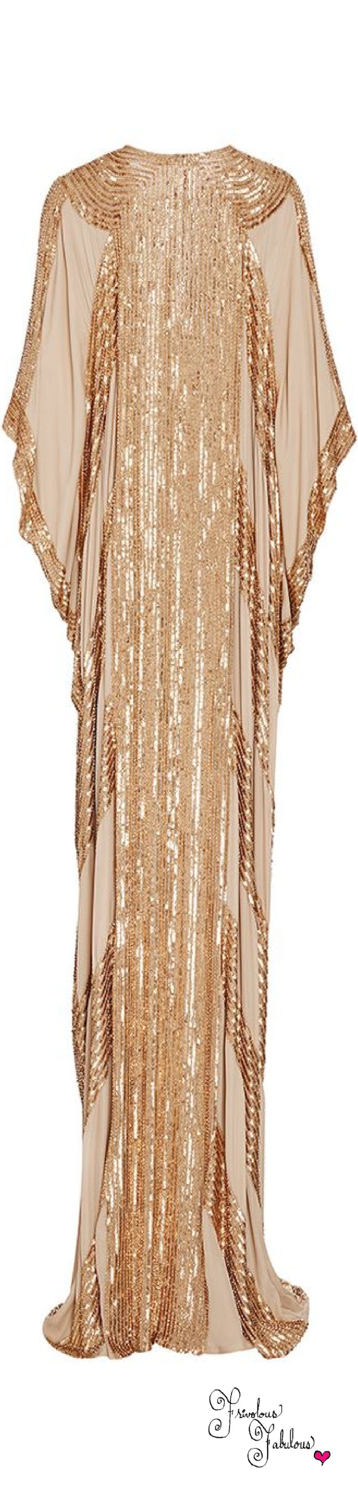 Frivolous Fabulous - Naeem Khan Metallic Linear Beaded Georgette Caftan Resort 2016 Back View